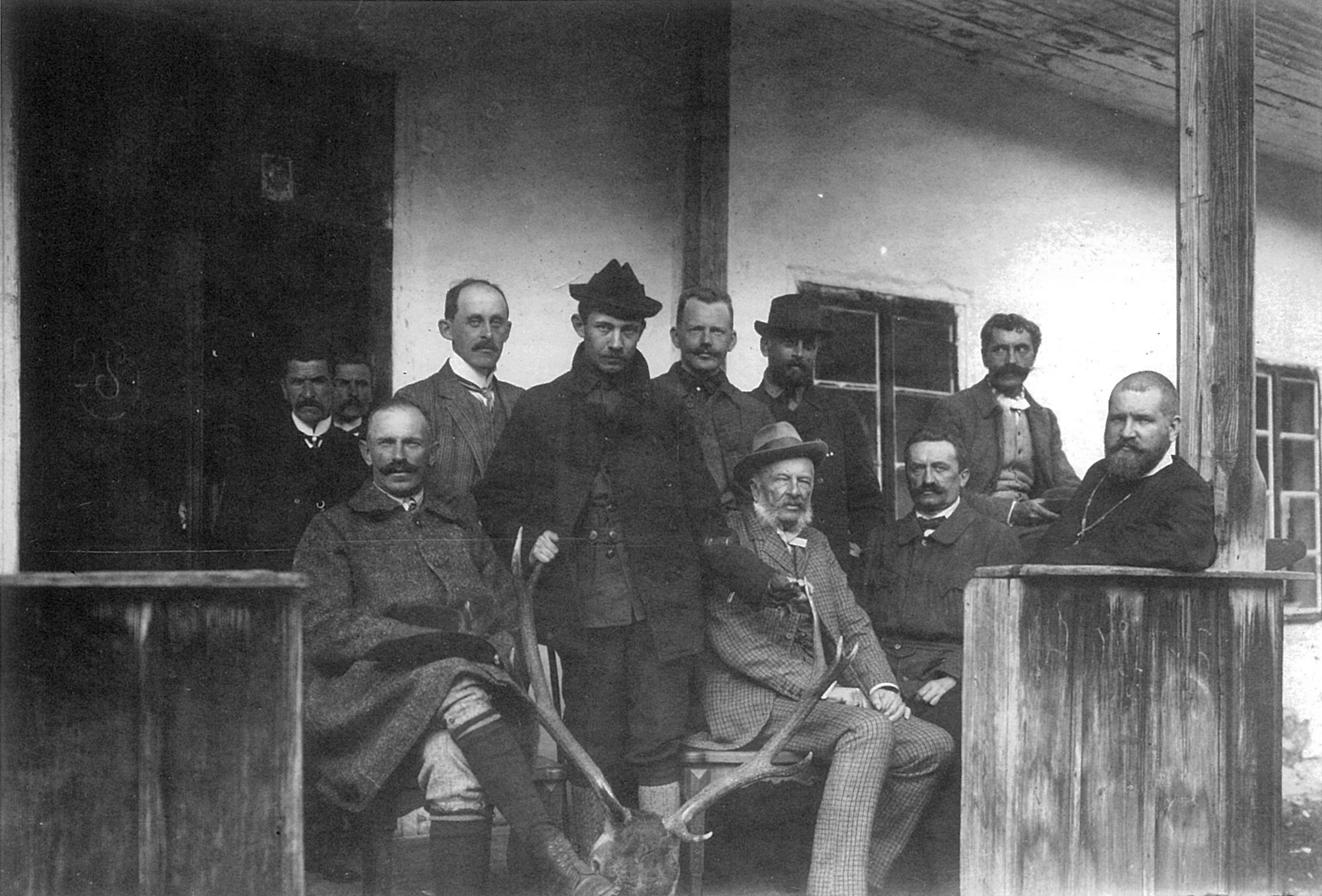 The Sheptytskyi brothers with their father and friends in the village Perehinsk in 1909.