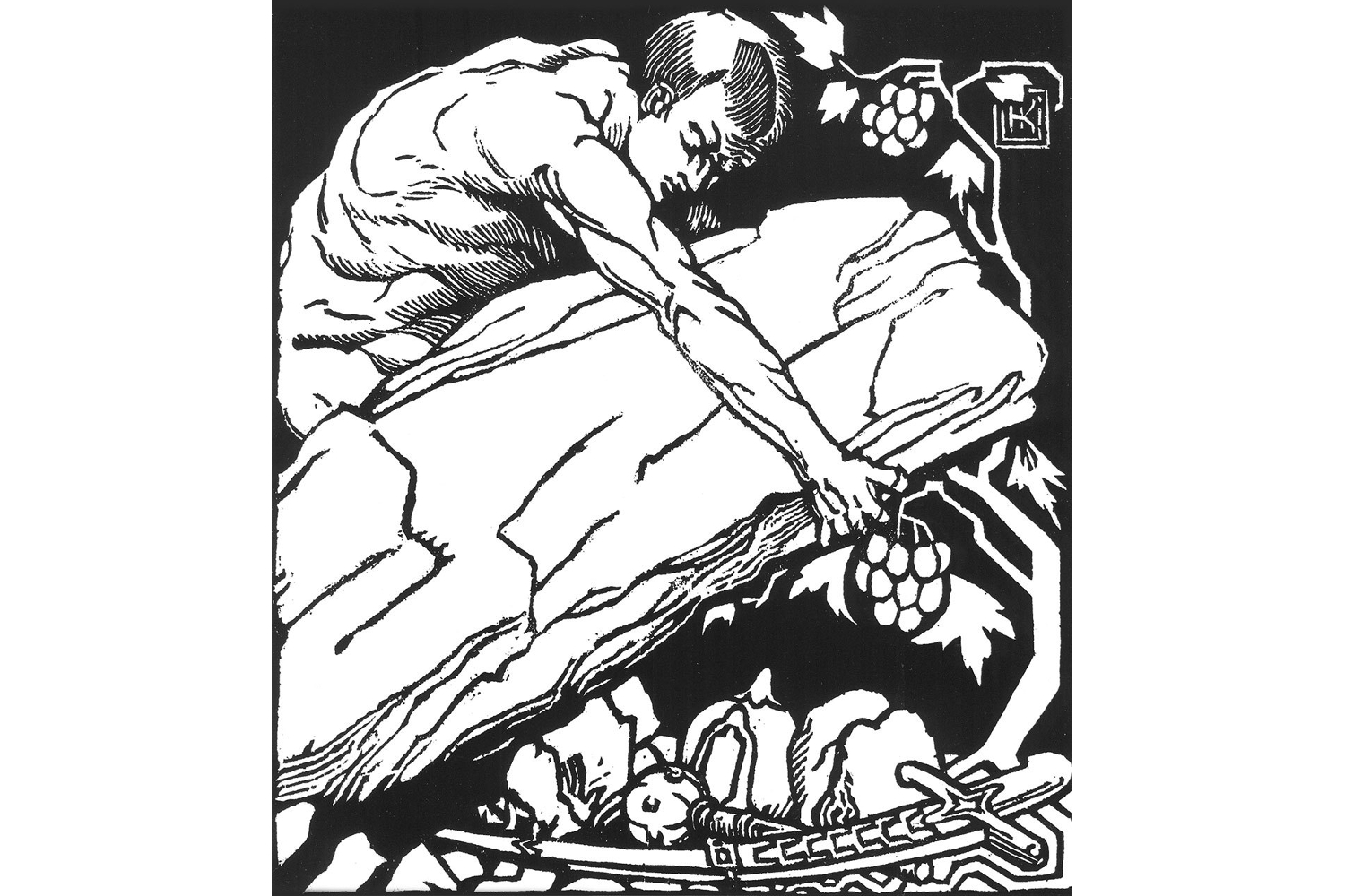 Linocut by Olena Kulchytska. Theseus picking up a sword (symbolizing state power) prepared for the 10th anniversary of the November 1918 events. Credits: Nadiya Kinash