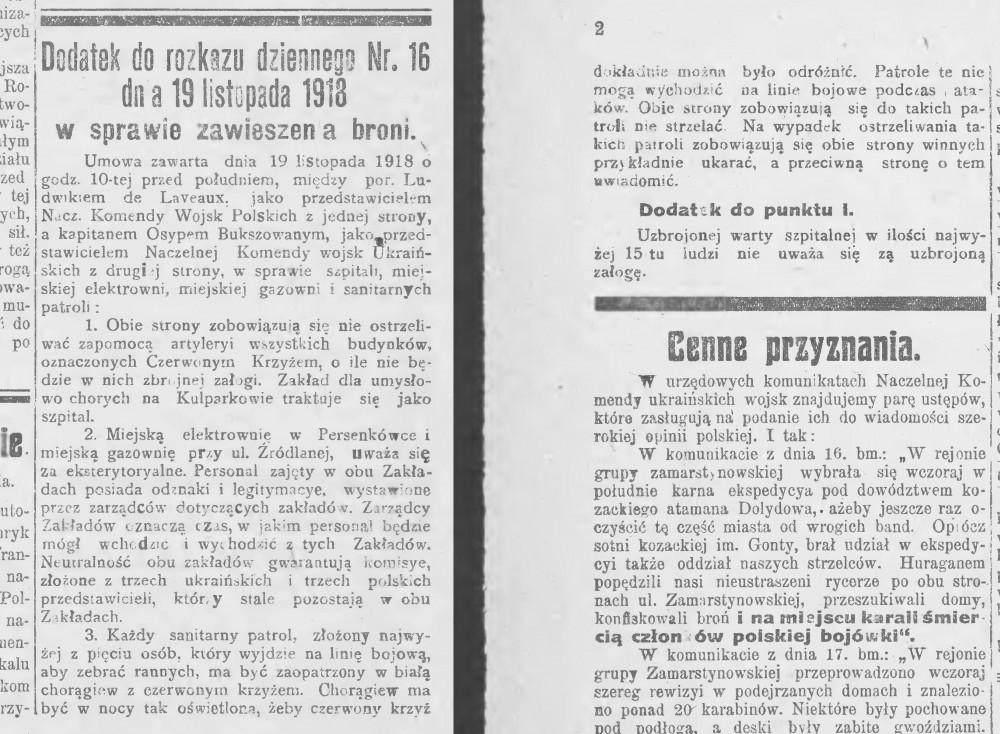 """Zawiadomienie w gazecie """"Pobudka"""" z dnia 20 listopada 1918 roku o warunkach wprowadzenia pokoju."""