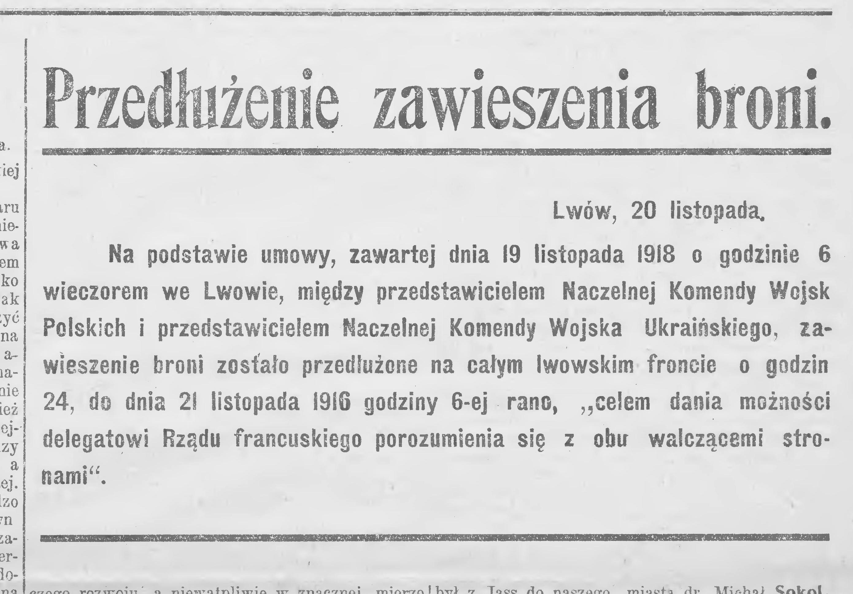 """Zawiadomienie w gazecie """"Pobudka"""" z dnia 20 listopada 1918 roku o utrzymaniu pokoju."""