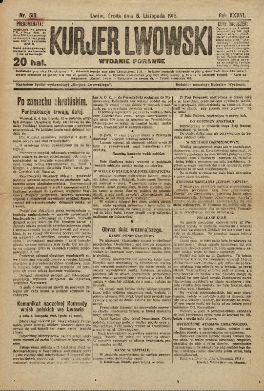 Polish newspaper Kurjer Lwowski from November 6, 1918