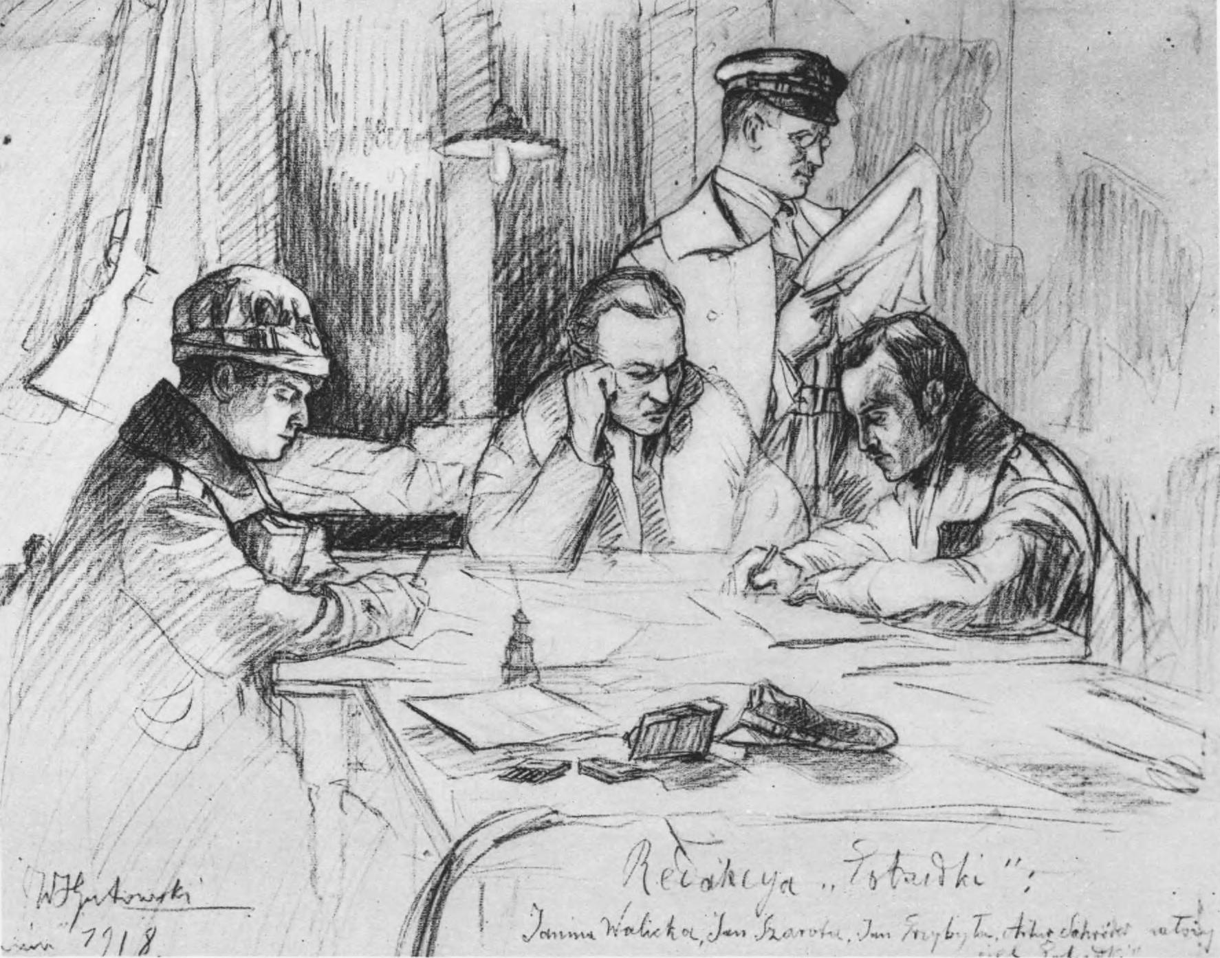 """Редакція газети """"Pobudka"""". Джерело: Semper Fidelis, 1930, tabl. 96"""