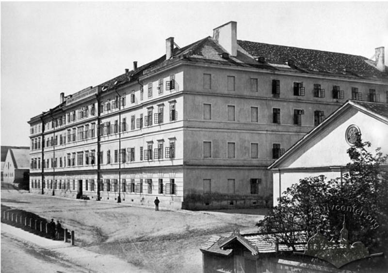 Główny budynek koszar w 1863 roku.