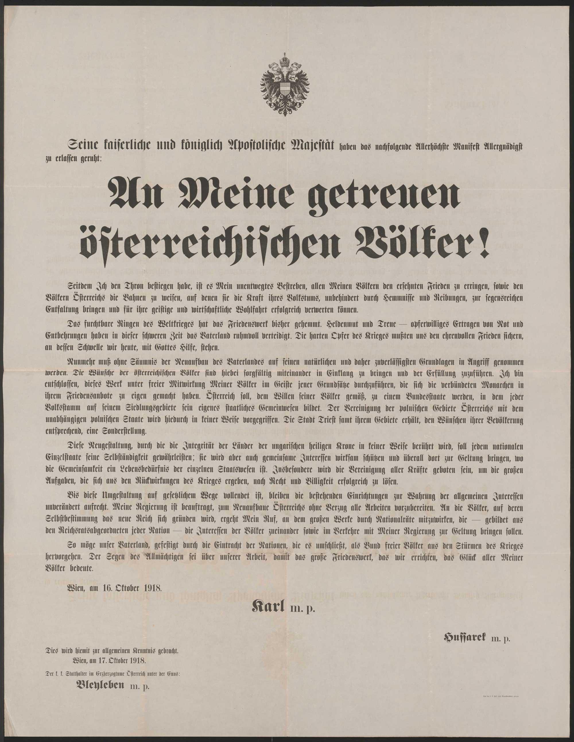 Charles I von Habsurg manifesto from 16 October 1918. Source: Austrian National Archive
